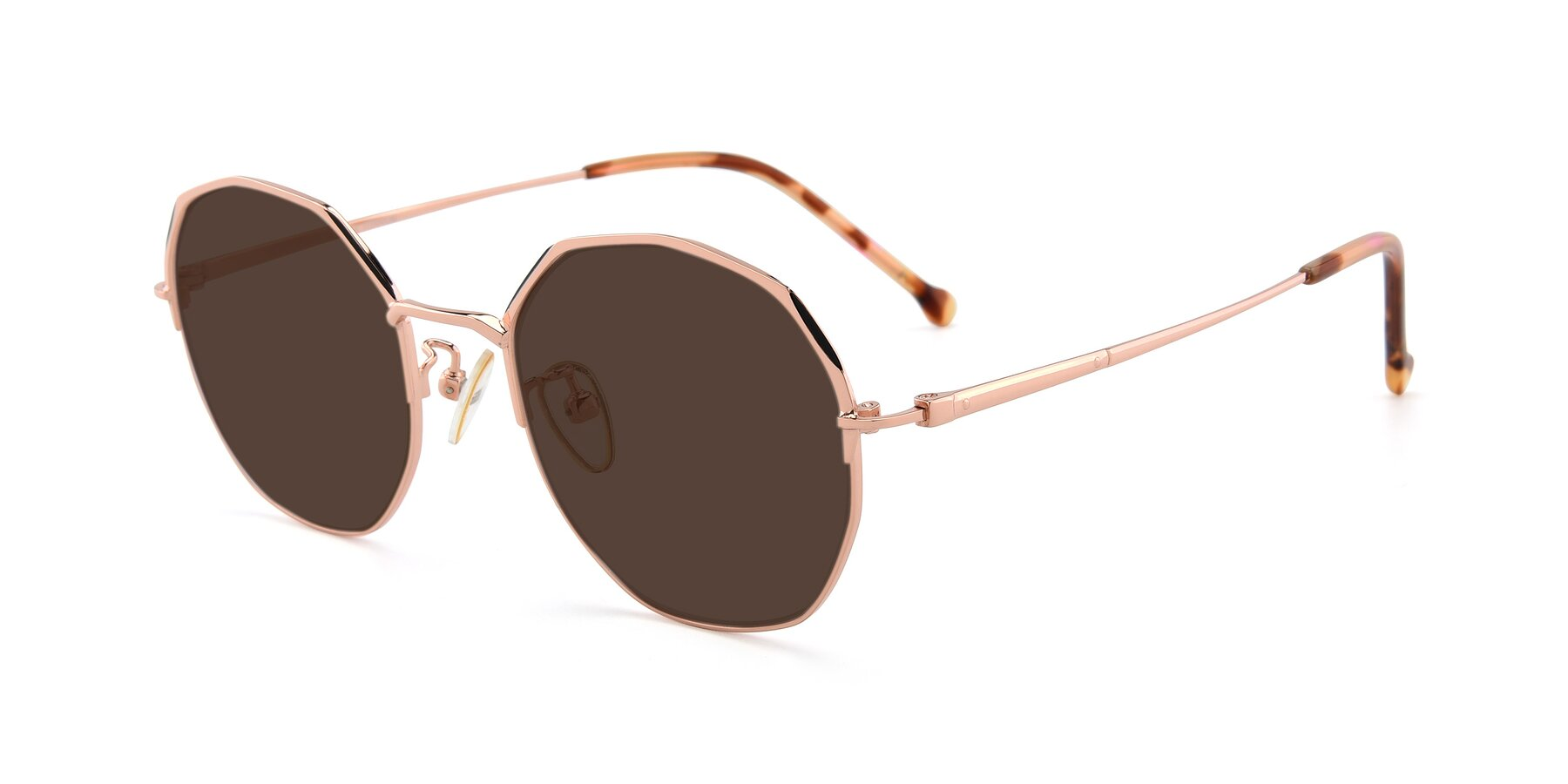 Angle of 18020 in Rose Gold with Brown Tinted Lenses