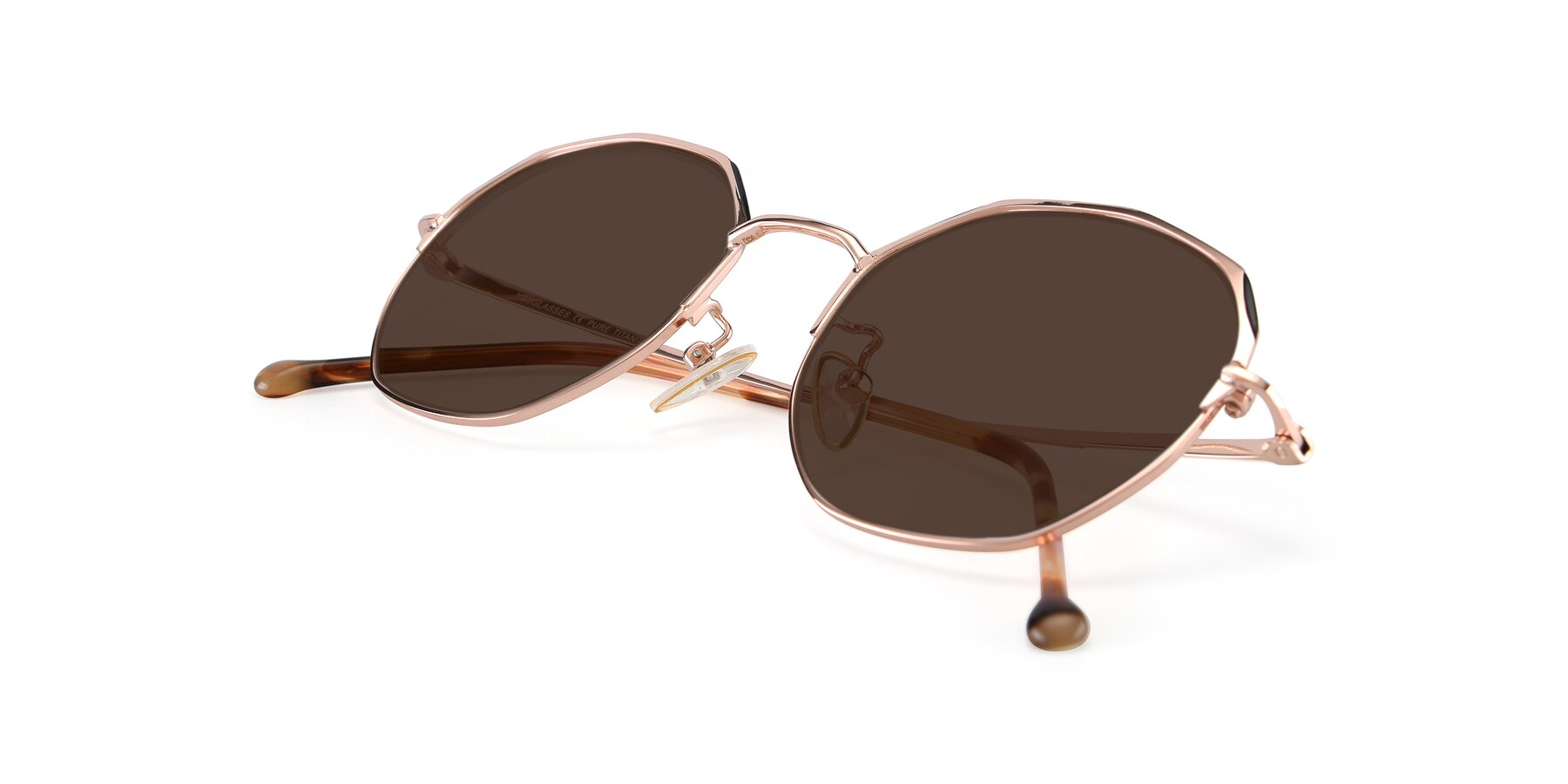View of 18020 in Rose Gold with Brown Tinted Lenses