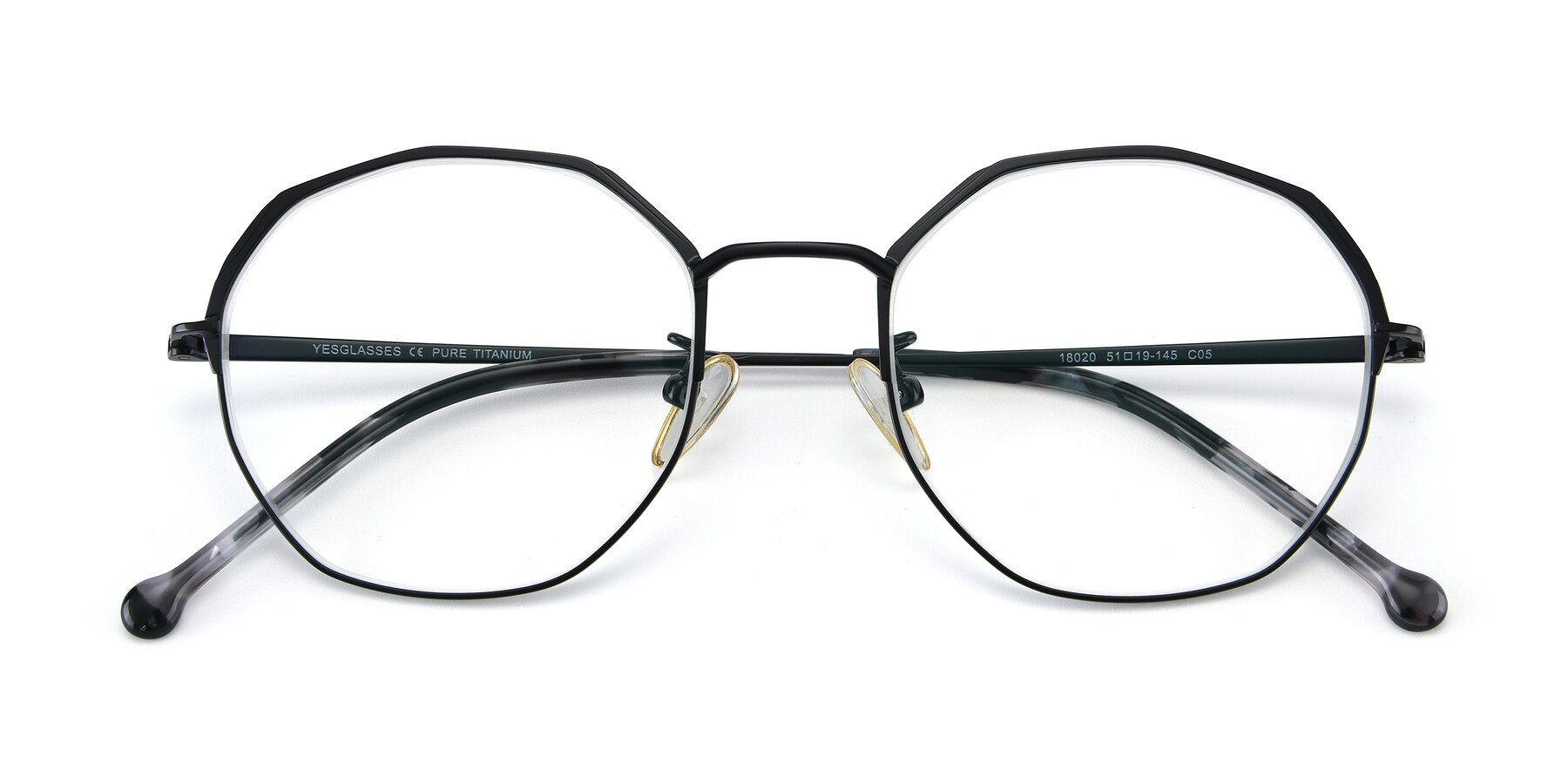 Folded Front of 18020 in Black with Clear Eyeglass Lenses