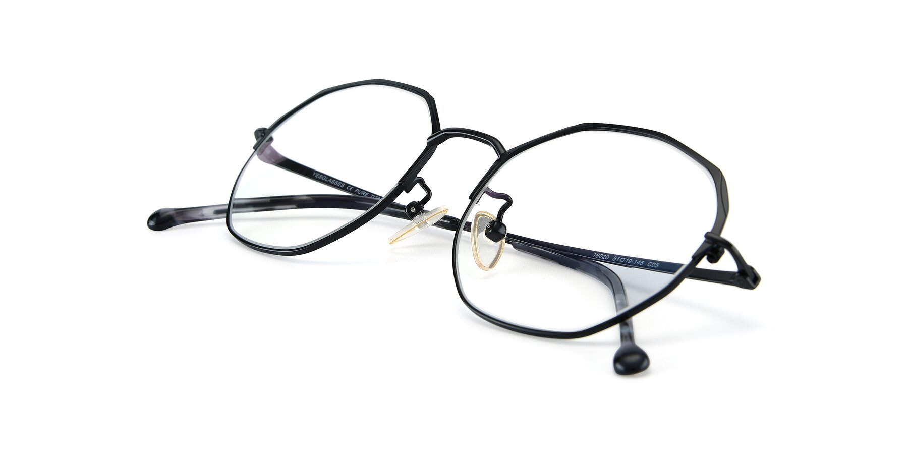 View of 18020 in Black with Clear Eyeglass Lenses