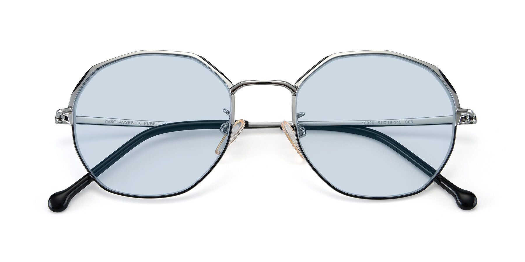 Folded Front of 18020 in Black-Silver with Light Blue Tinted Lenses