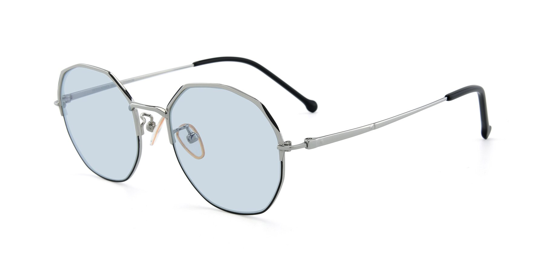 Angle of 18020 in Black-Silver with Light Blue Tinted Lenses