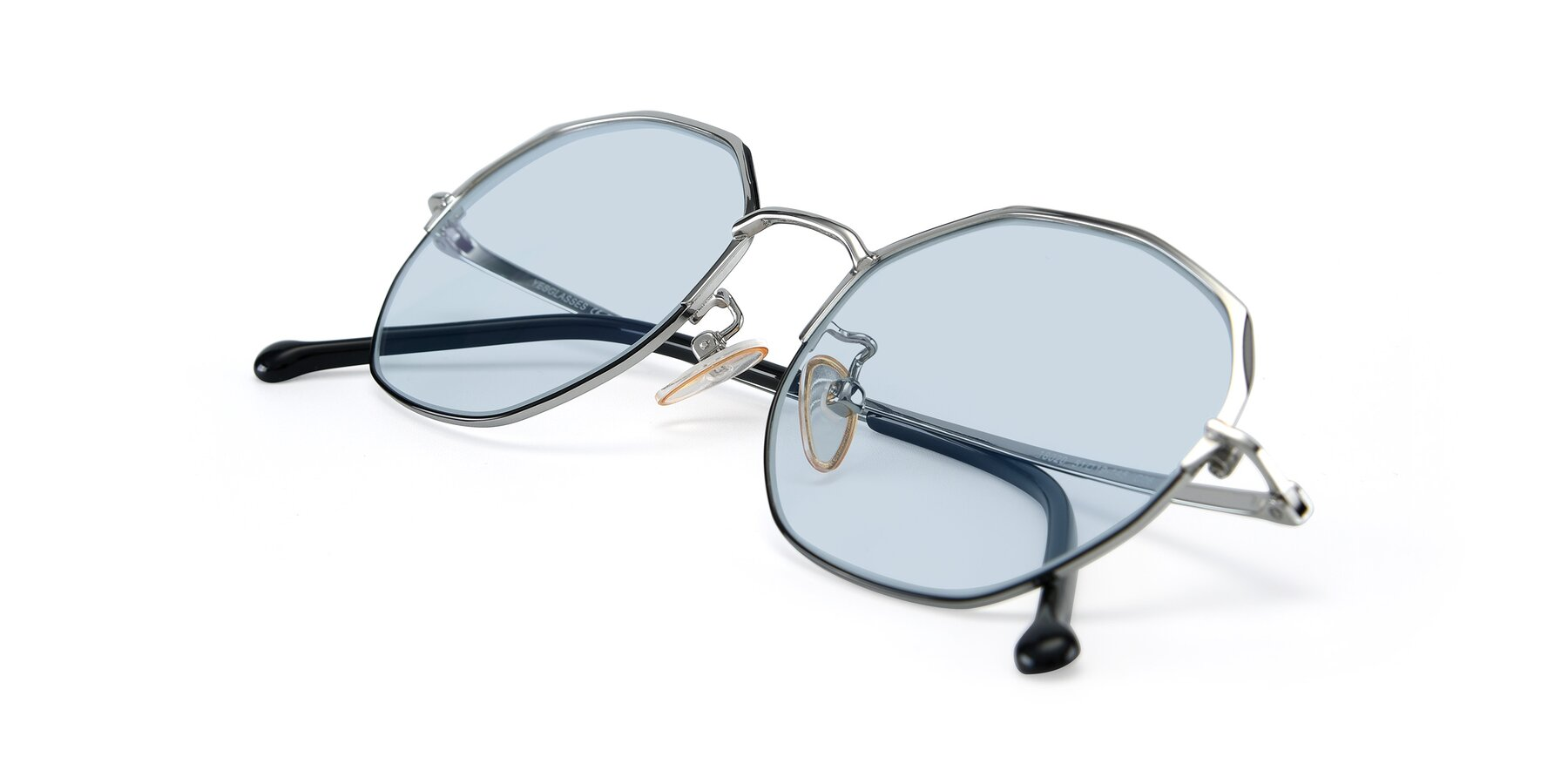 View of 18020 in Black-Silver with Light Blue Tinted Lenses