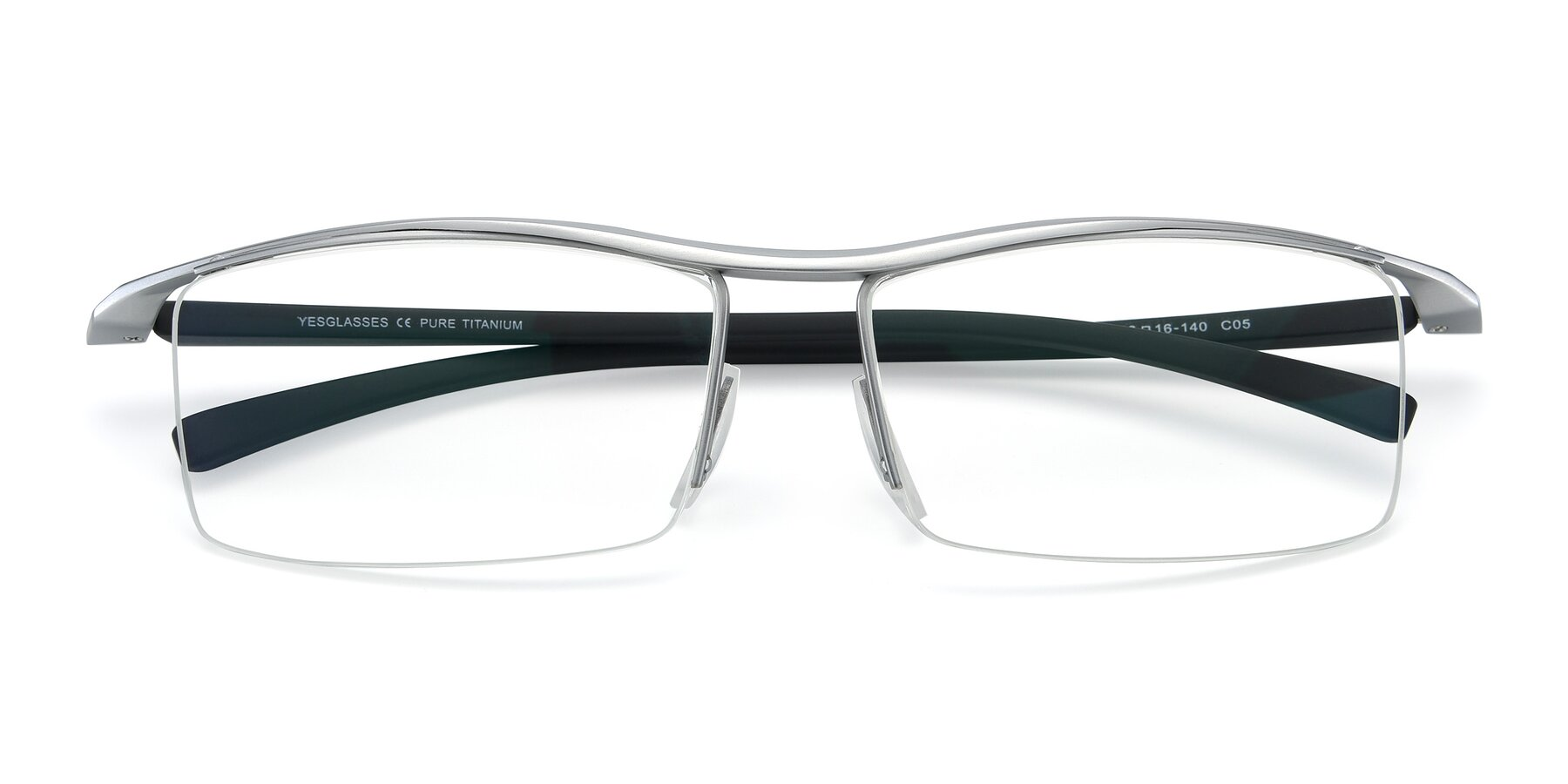 Folded Front of 40001 in Silver with Clear Eyeglass Lenses