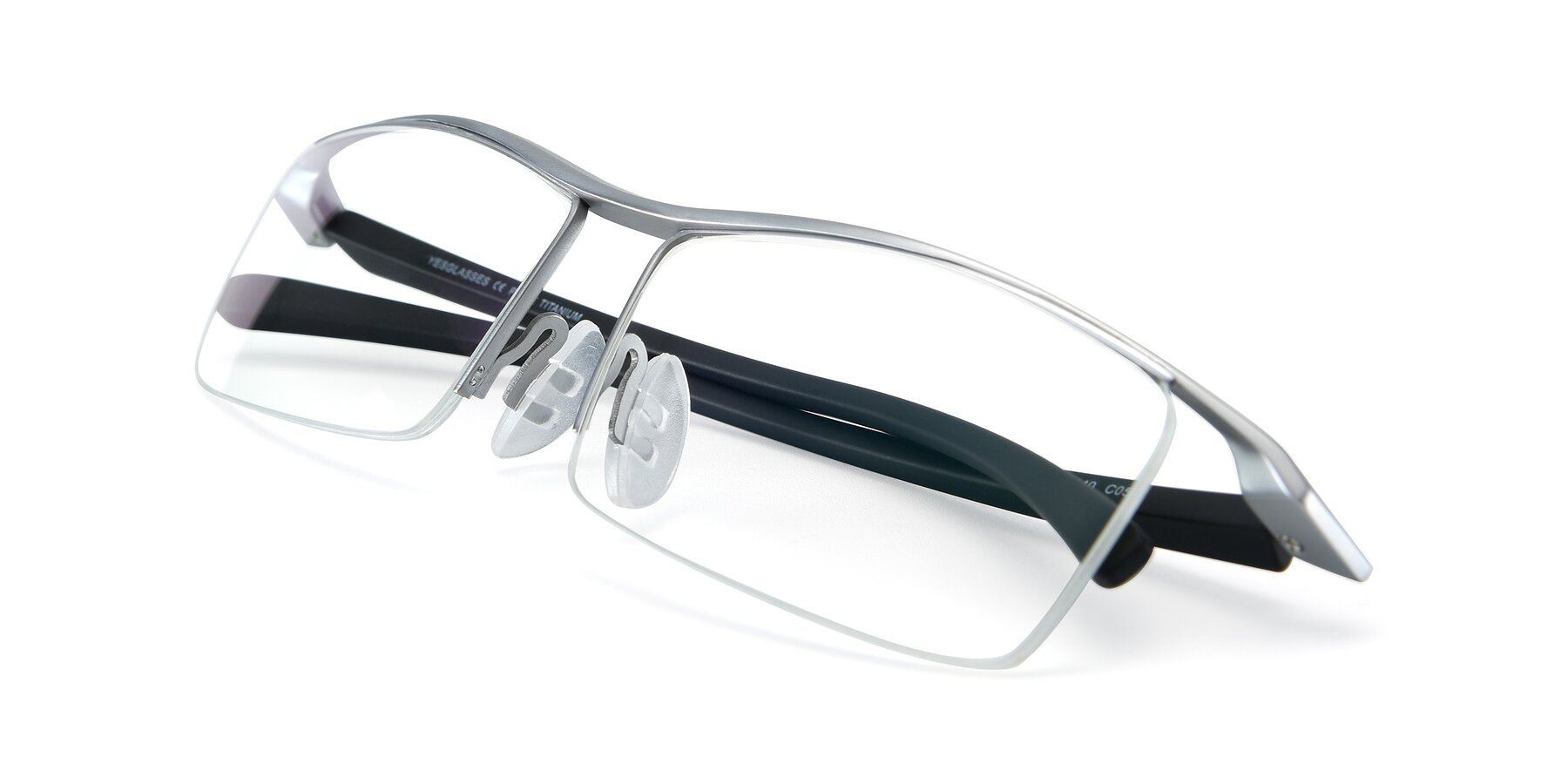 View of 40001 in Silver with Clear Eyeglass Lenses
