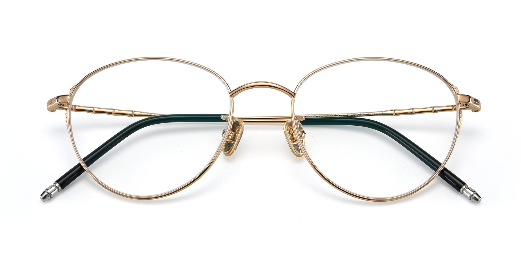 Folded Front of 90056 in Rose Gold with Clear Eyeglass Lenses