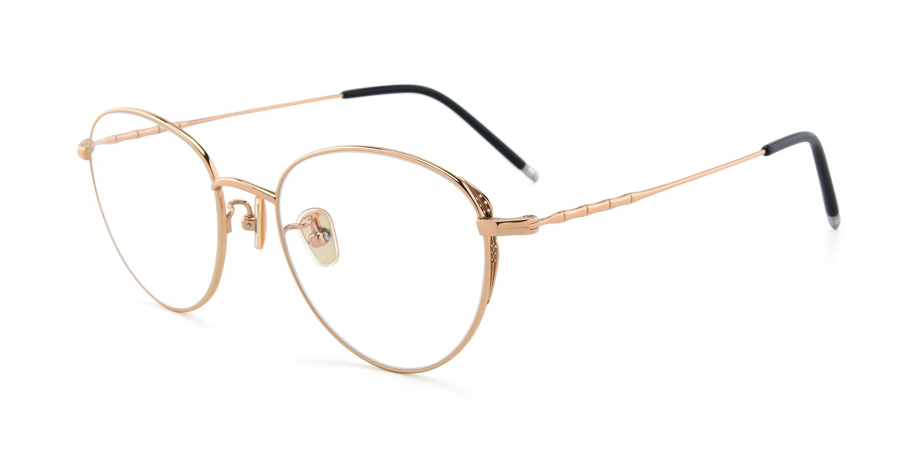 Angle of 90056 in Rose Gold with Clear Eyeglass Lenses