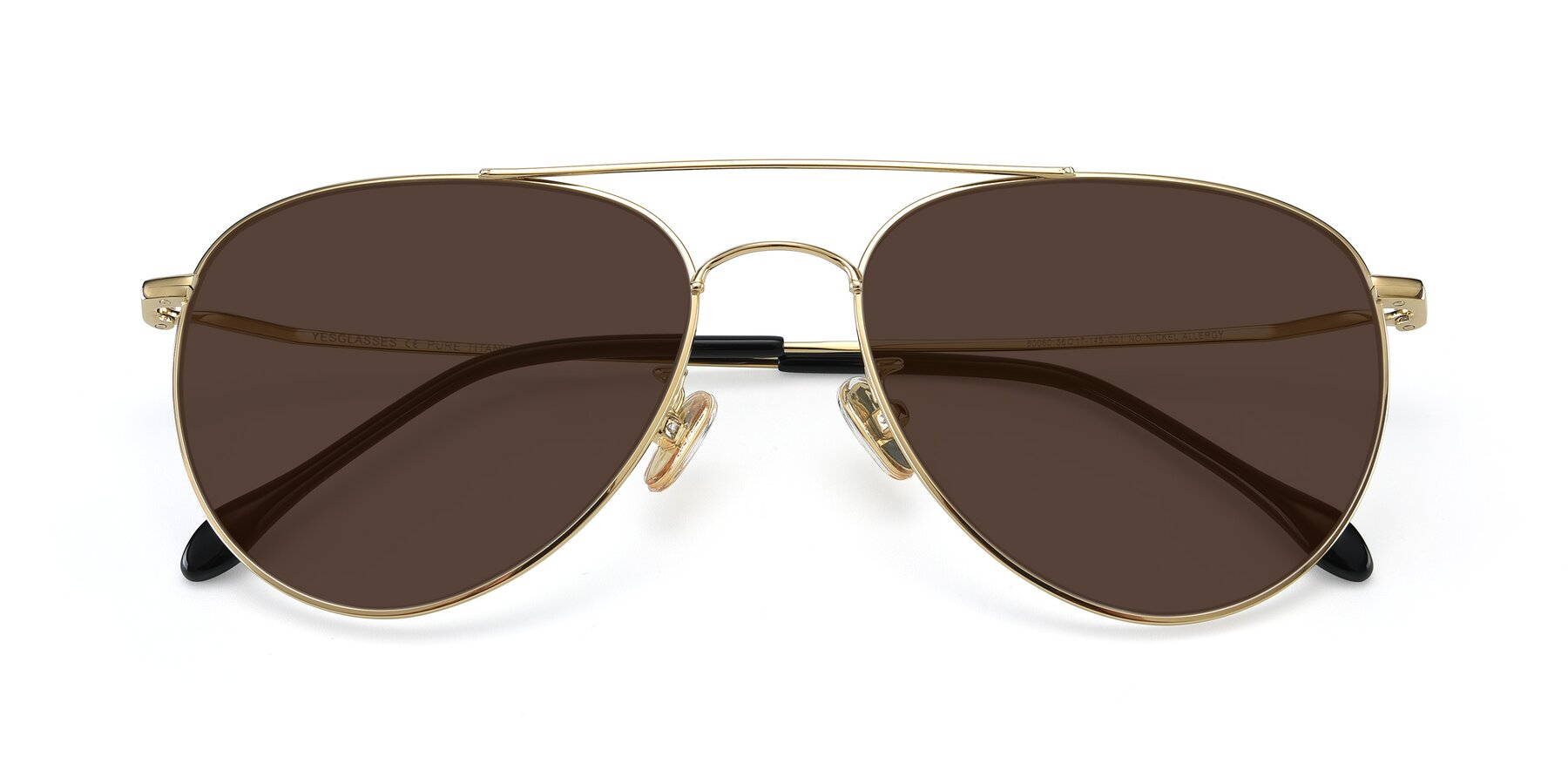 Folded Front of 80060 in Gold with Brown Tinted Lenses