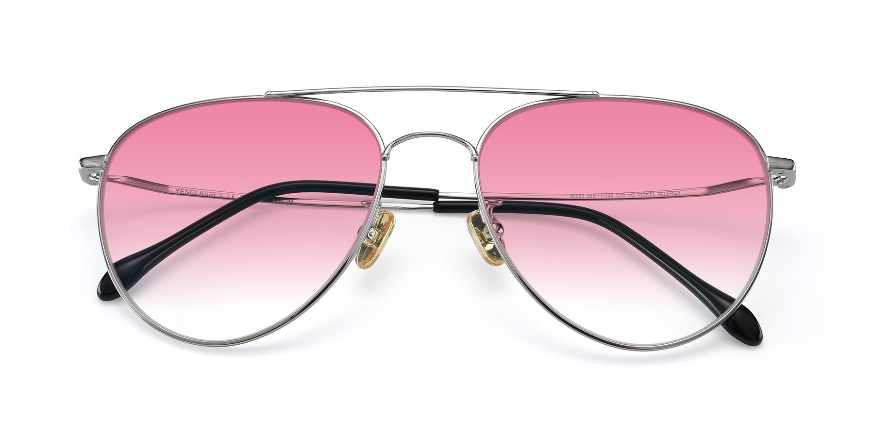 Folded Front of 80060 in Silver with Pink Gradient Lenses