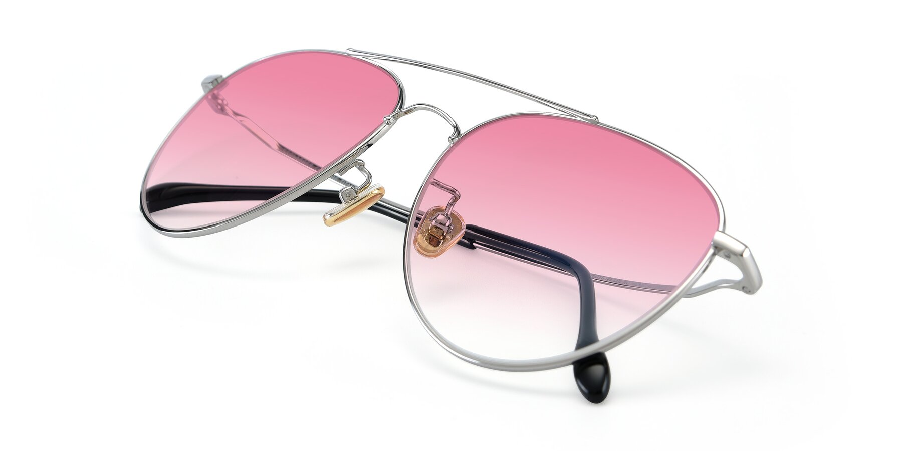 View of 80060 in Silver with Pink Gradient Lenses