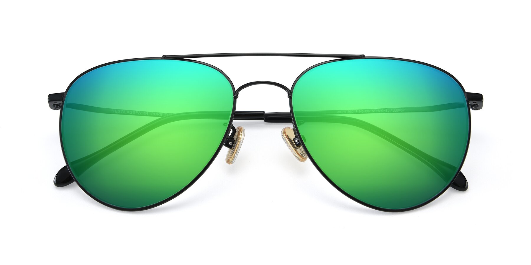 Folded Front of 80060 in Black with Green Mirrored Lenses