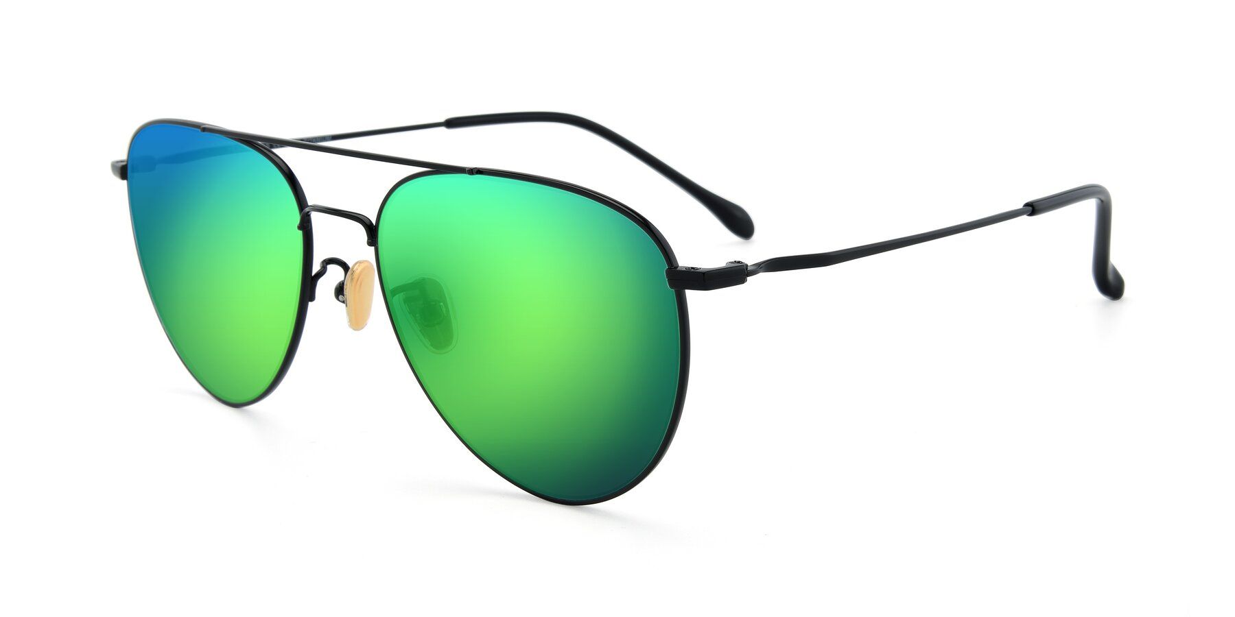 Angle of 80060 in Black with Green Mirrored Lenses