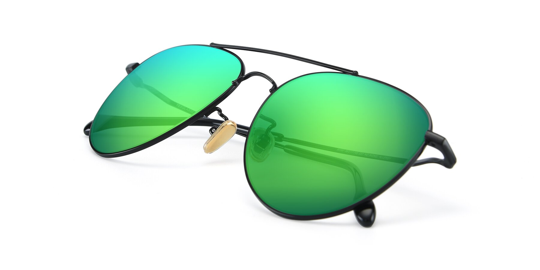 View of 80060 in Black with Green Mirrored Lenses