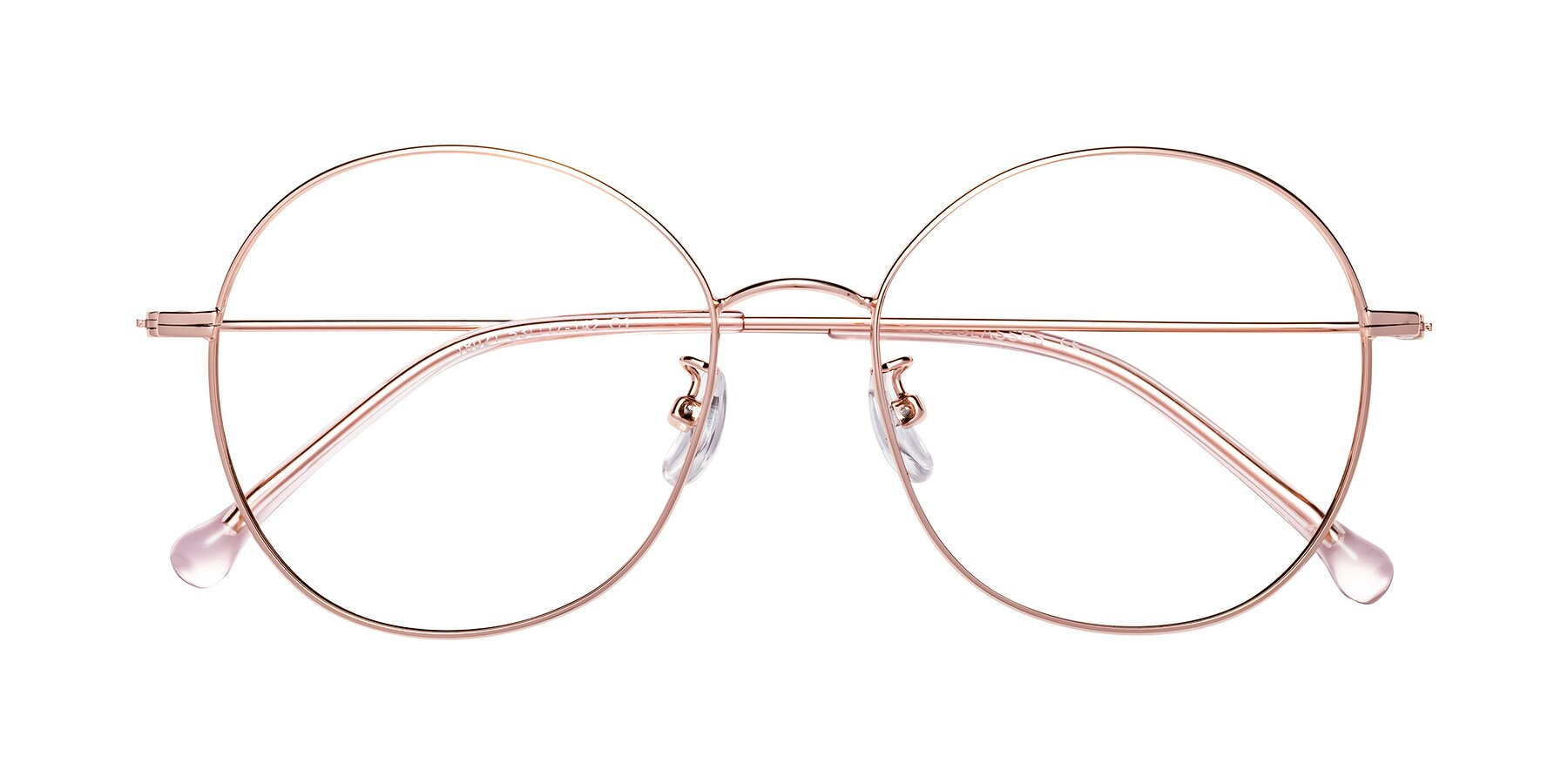 Folded Front of Dallas in Rose Gold with Clear Eyeglass Lenses