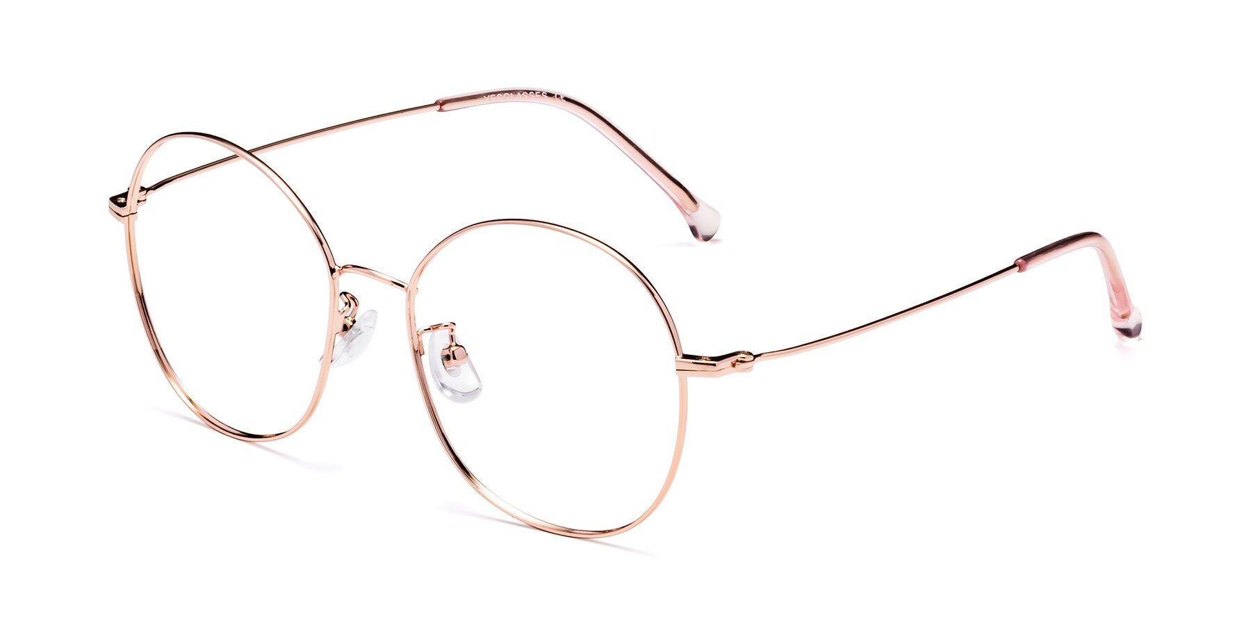 Angle of Dallas in Rose Gold with Clear Eyeglass Lenses