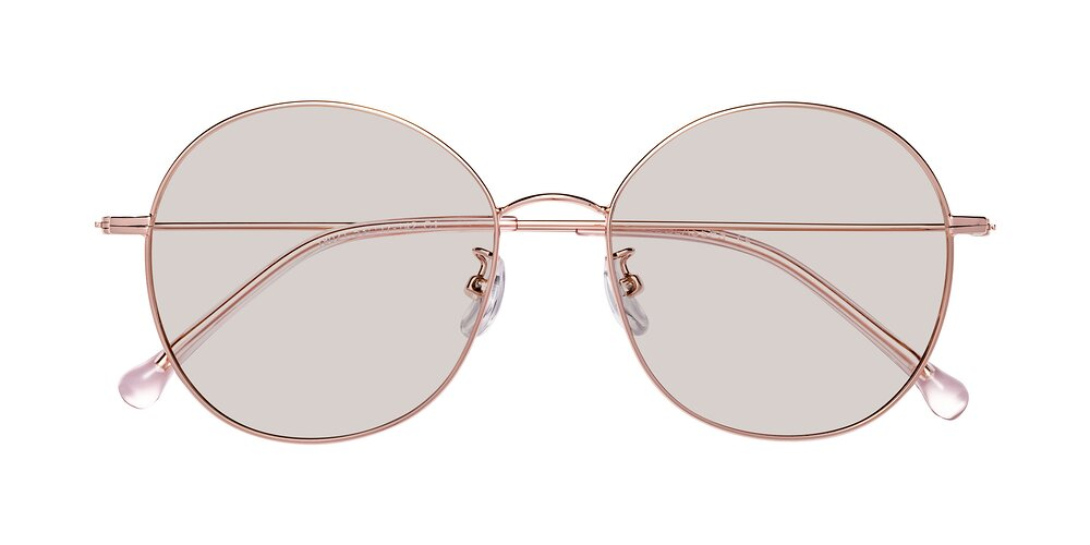 Rose Gold Grandpa Oversized Round Tinted Sunglasses With Light Brown Sunwear Lenses
