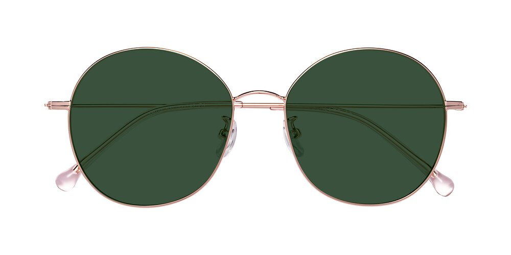 Rose Gold Grandpa Oversized Round Tinted Sunglasses With Green Sunwear Lenses