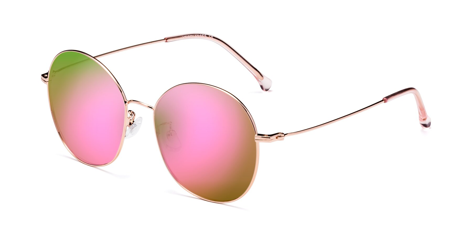 Angle of 18021 in Rose Gold with Pink Mirrored Lenses