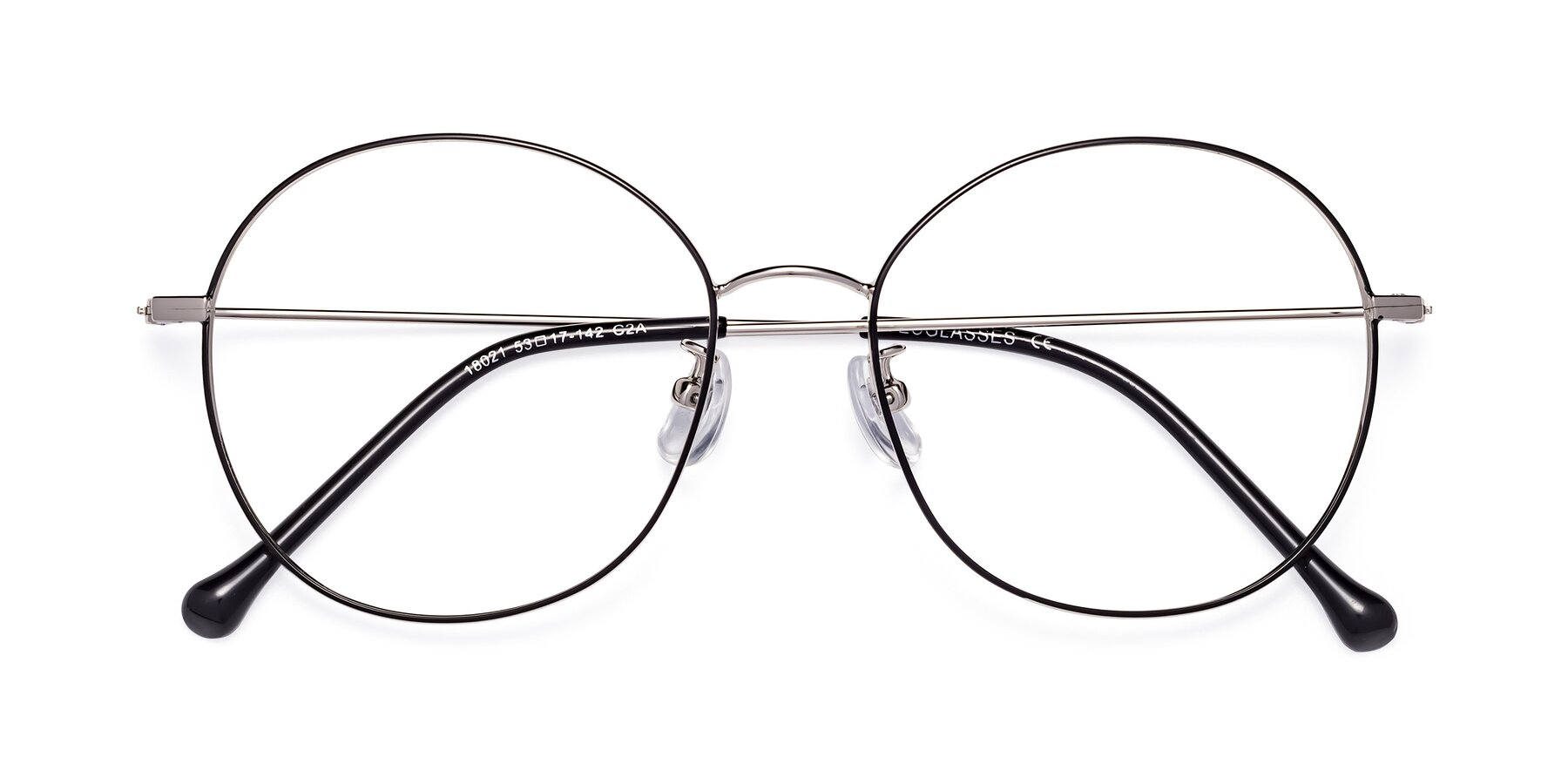 Folded Front of Dallas in Black-Silver with Clear Blue Light Blocking Lenses