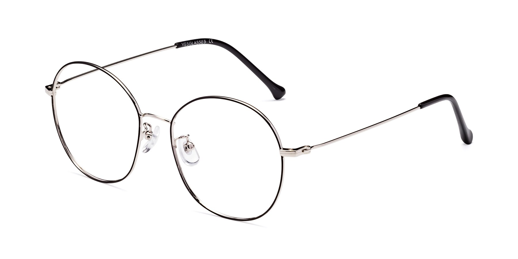 Angle of Dallas in Black-Silver with Clear Blue Light Blocking Lenses