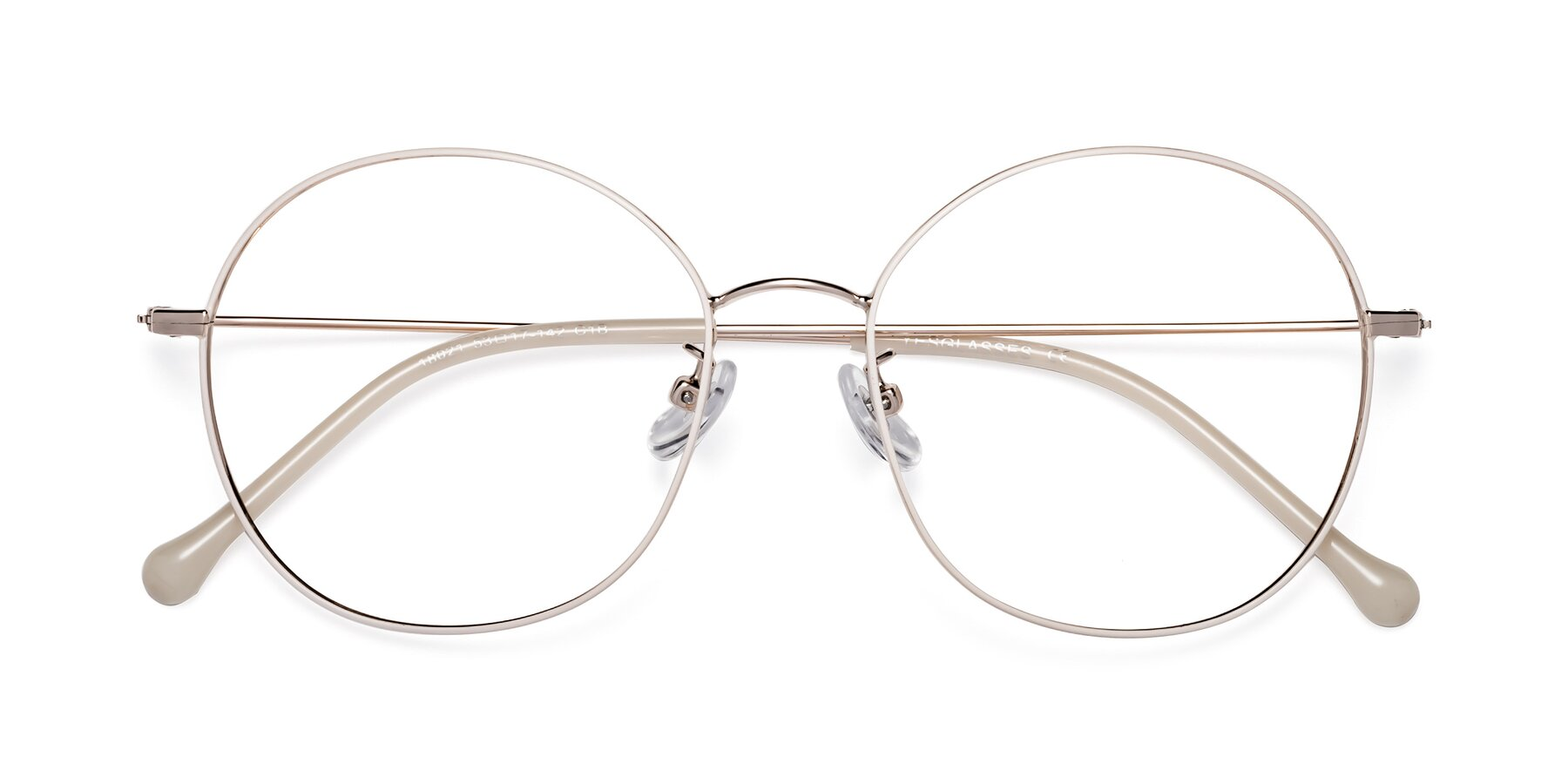 Folded Front of Dallas in White-Gold with Clear Blue Light Blocking Lenses