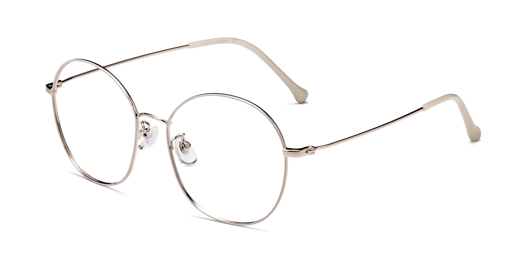 Angle of Dallas in White-Gold with Clear Blue Light Blocking Lenses