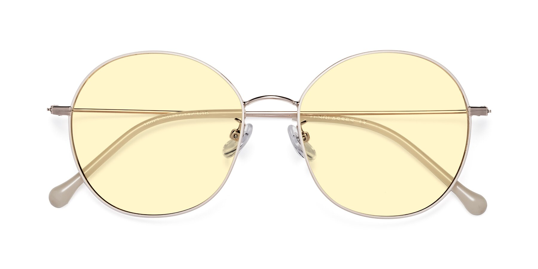 Folded Front of Dallas in White-Gold with Light Yellow Tinted Lenses