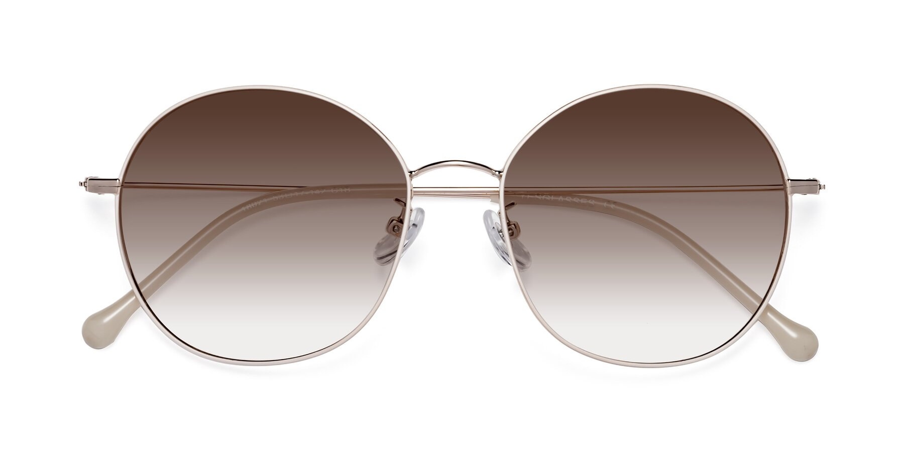 Folded Front of Dallas in White-Gold with Brown Gradient Lenses