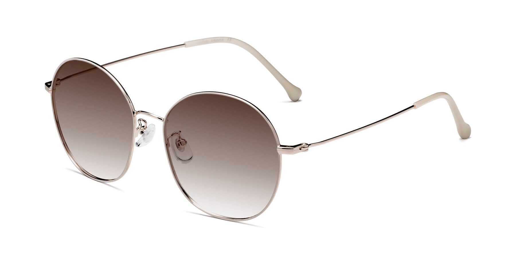 Angle of Dallas in White-Gold with Brown Gradient Lenses