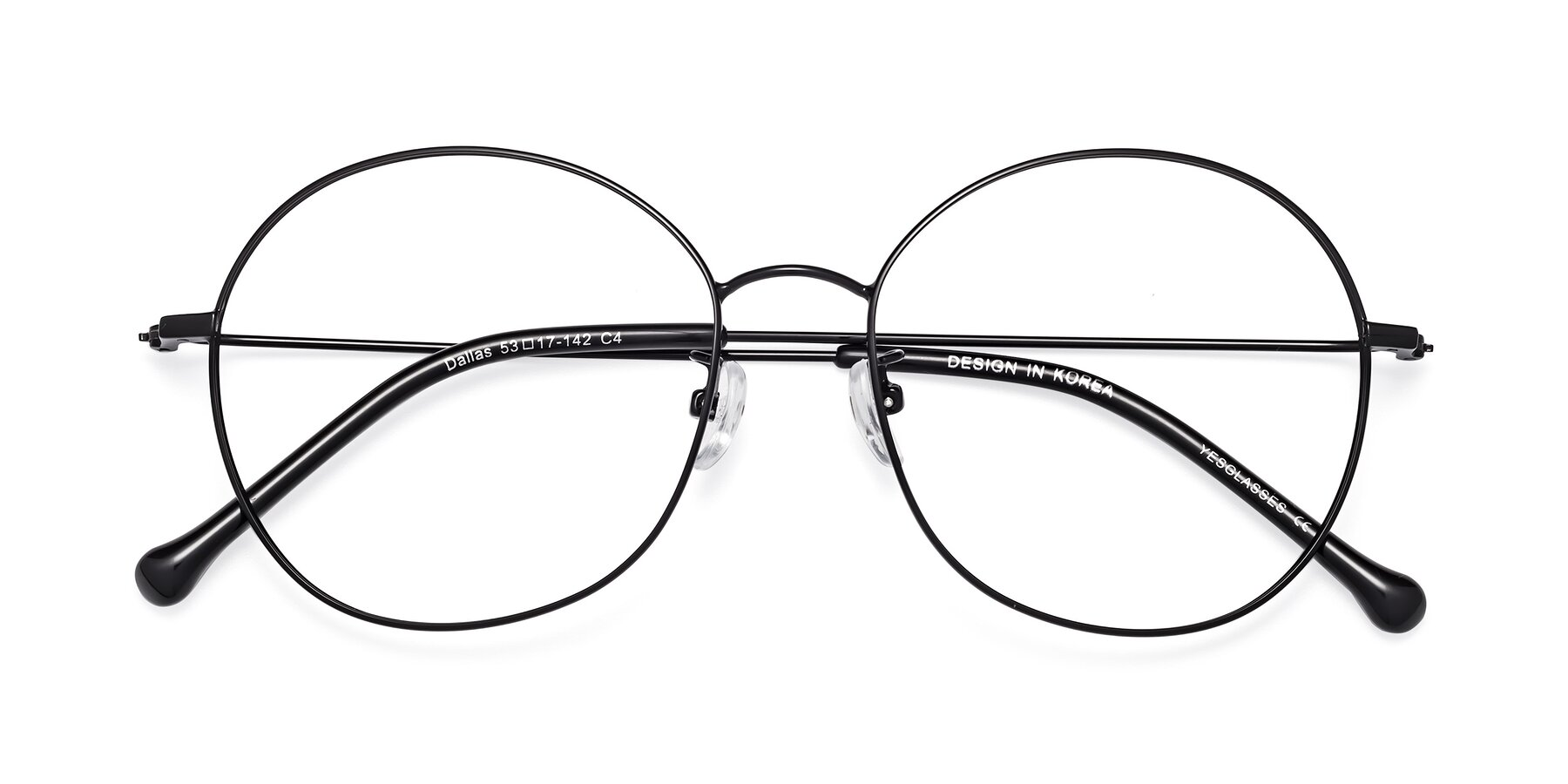 Folded Front of Dallas in Black with Clear Blue Light Blocking Lenses