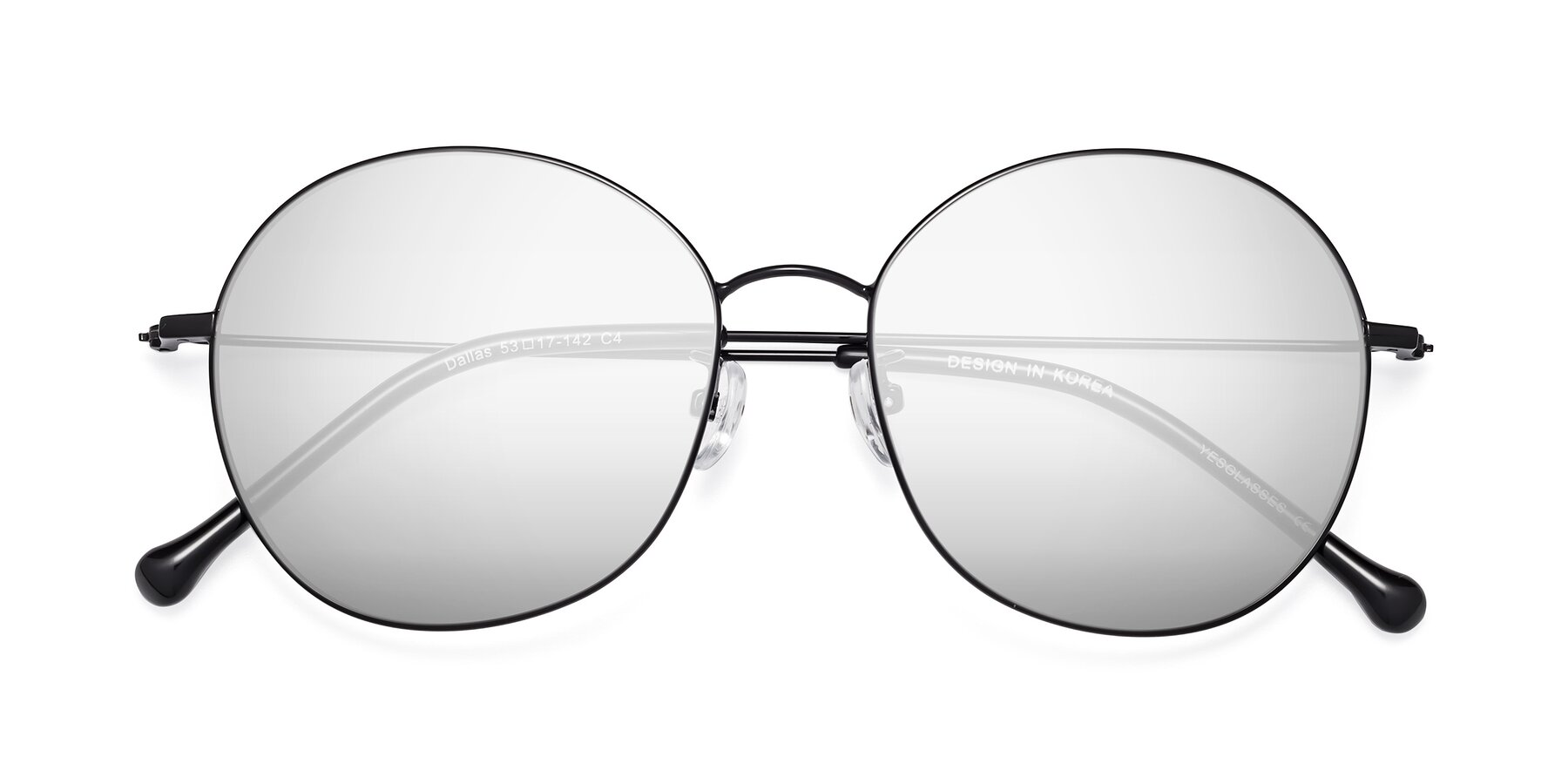 Folded Front of 18021 in Black with Silver Mirrored Lenses