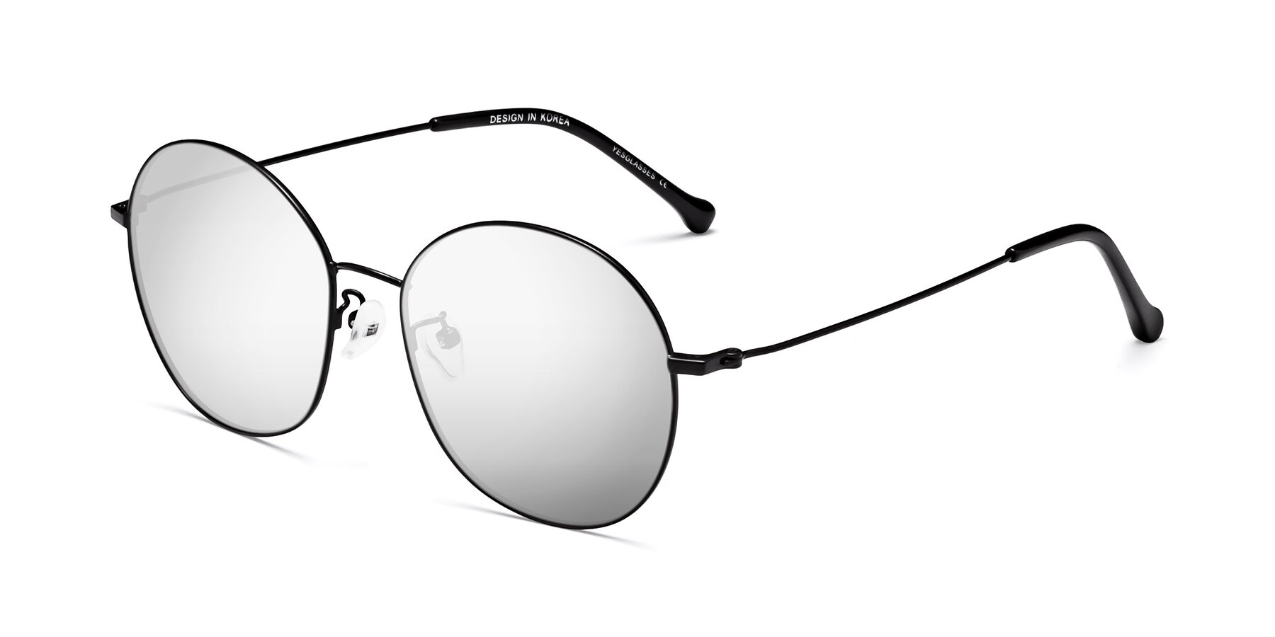 Angle of 18021 in Black with Silver Mirrored Lenses