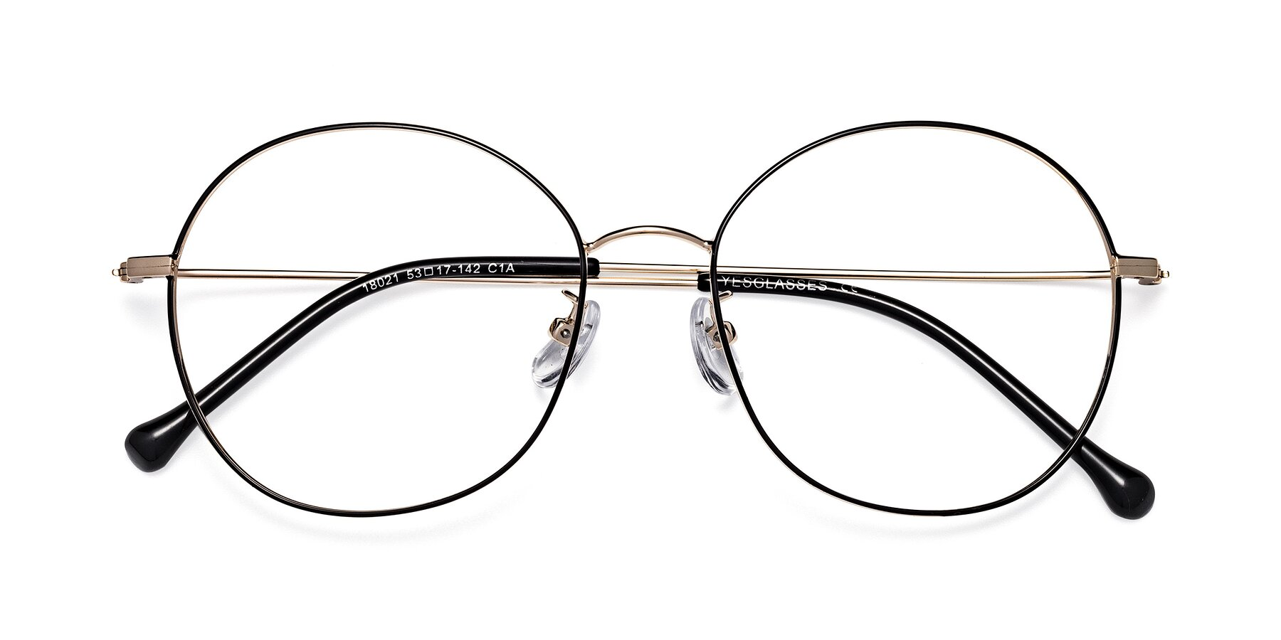 Folded Front of Dallas in Black-Gold with Clear Blue Light Blocking Lenses