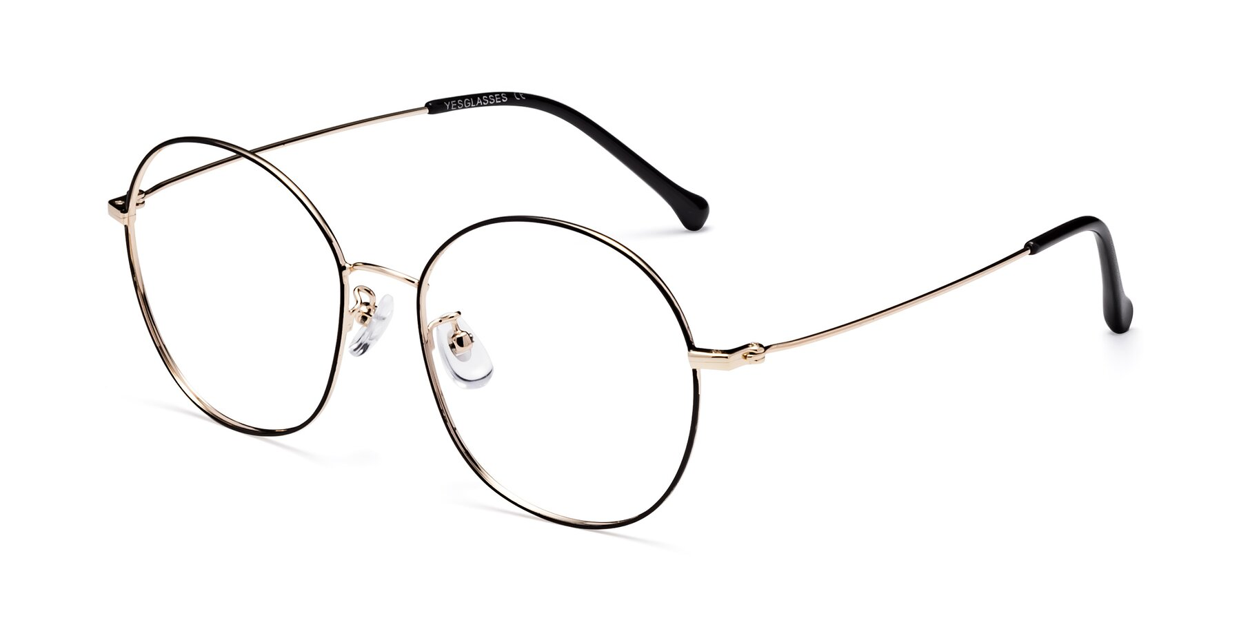 Angle of Dallas in Black-Gold with Clear Blue Light Blocking Lenses