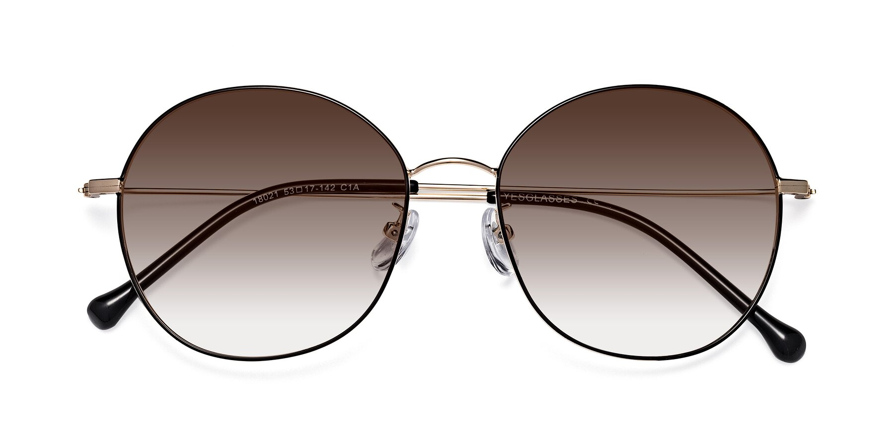 Folded Front of Dallas in Black-Gold with Brown Gradient Lenses