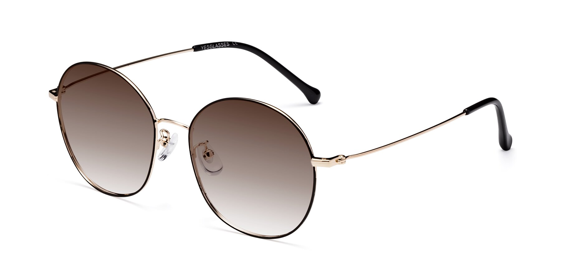 Angle of 18021 in Black-Gold with Brown Gradient Lenses