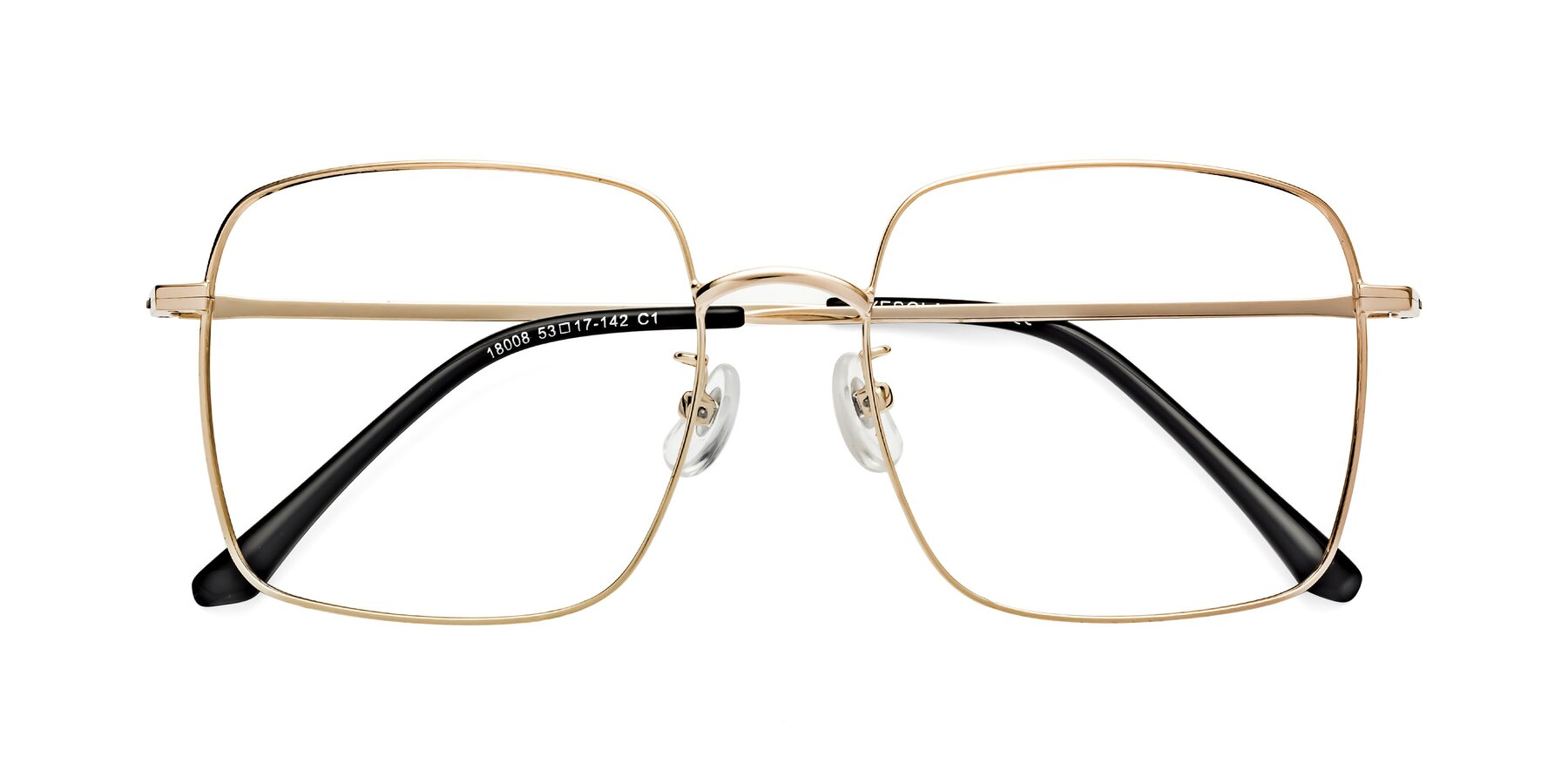 Folded Front of Billie in Gold with Clear Eyeglass Lenses