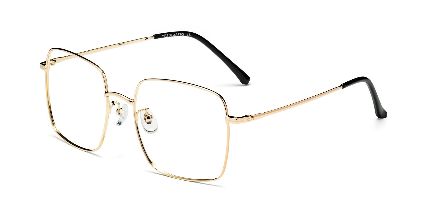 Angle of Billie in Gold with Clear Eyeglass Lenses