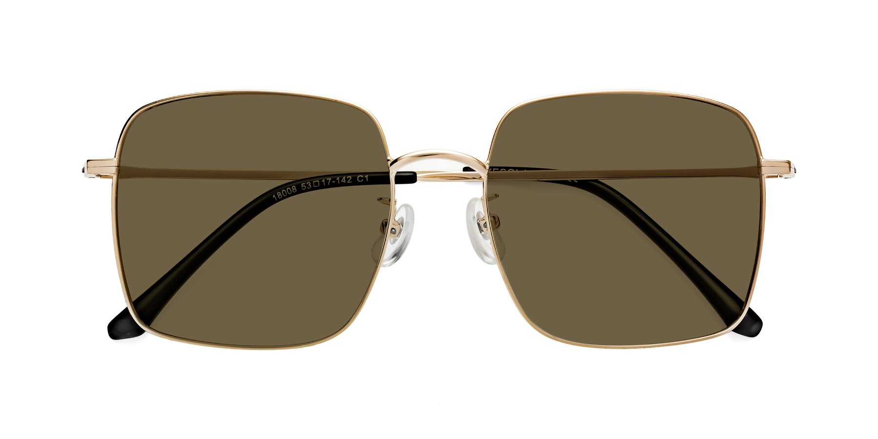 Folded Front of 18008 in Gold with Brown Polarized Lenses