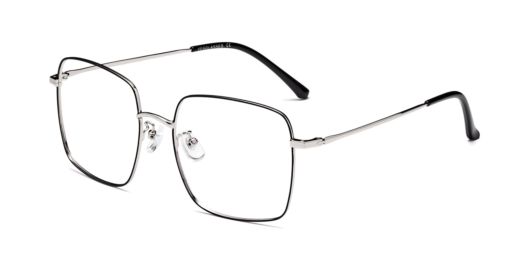 Angle of Billie in Black-Silver with Clear Blue Light Blocking Lenses