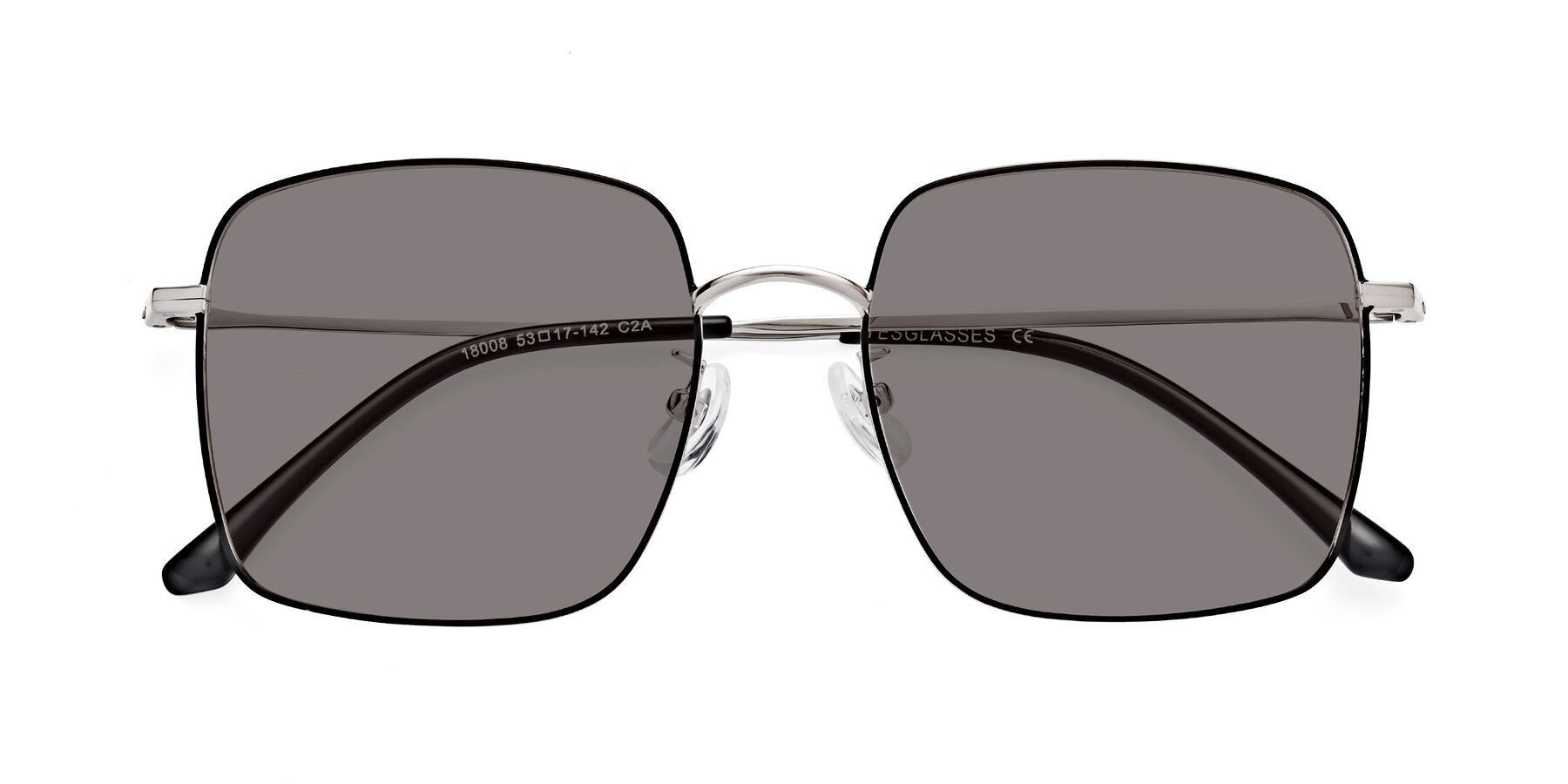 Folded Front of 18008 in Black-Silver with Medium Gray Tinted Lenses