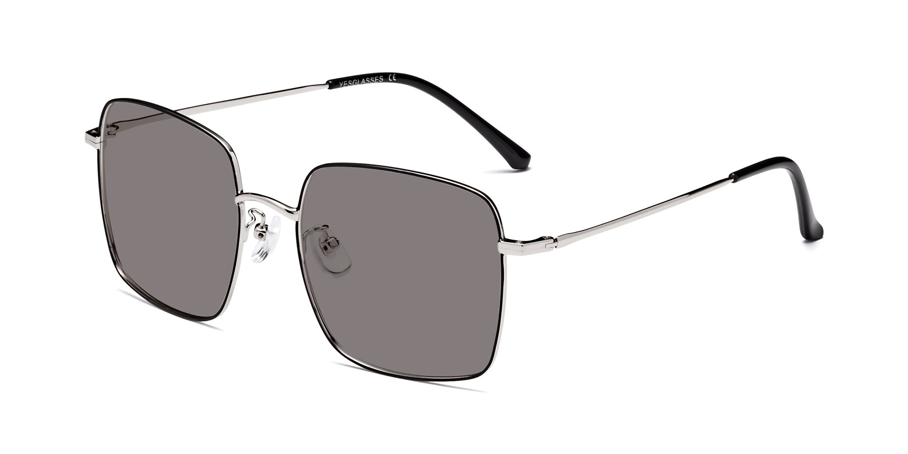 Angle of 18008 in Black-Silver with Medium Gray Tinted Lenses