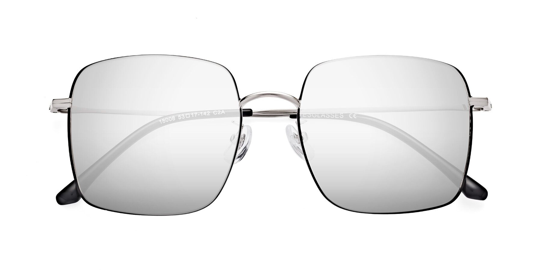 Folded Front of 18008 in Black-Silver with Silver Mirrored Lenses