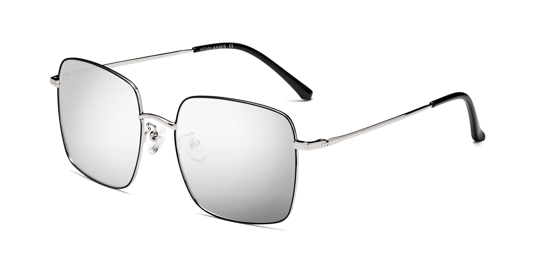 Angle of 18008 in Black-Silver with Silver Mirrored Lenses
