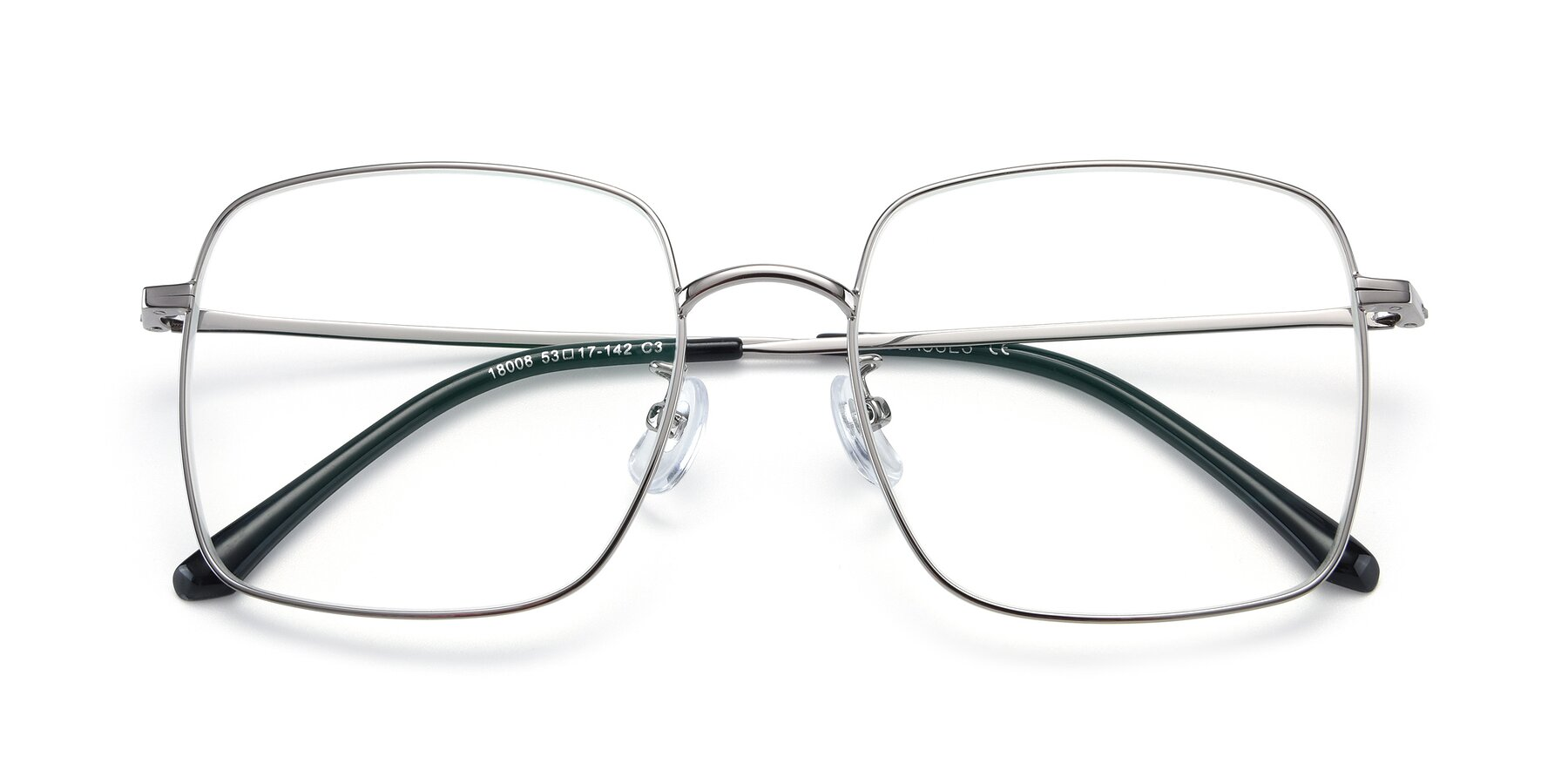 Folded Front of Billie in Silver with Clear Blue Light Blocking Lenses