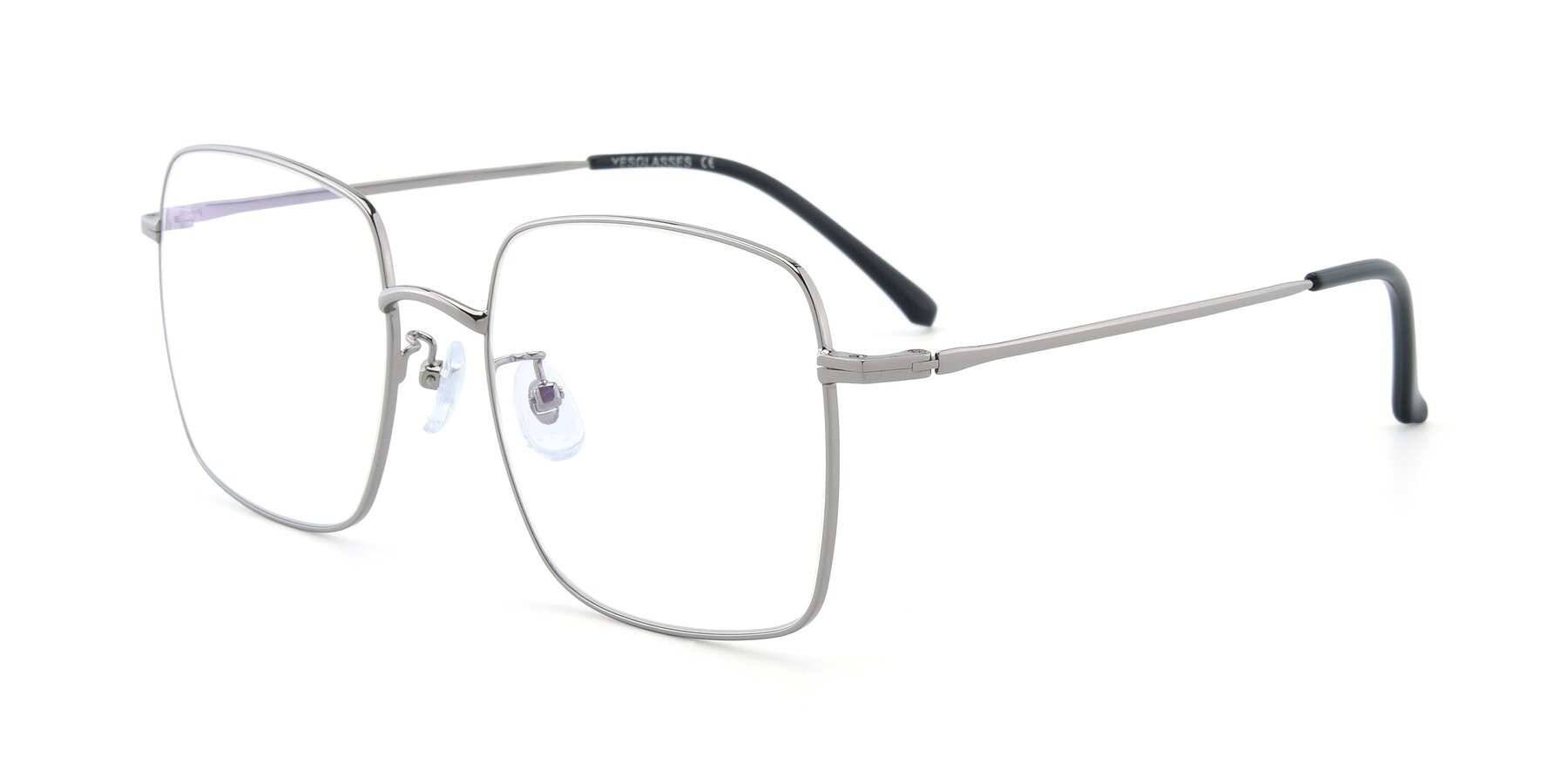 Angle of Billie in Silver with Clear Blue Light Blocking Lenses