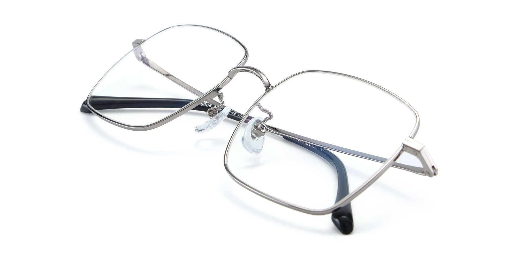 View of Billie in Silver with Clear Blue Light Blocking Lenses
