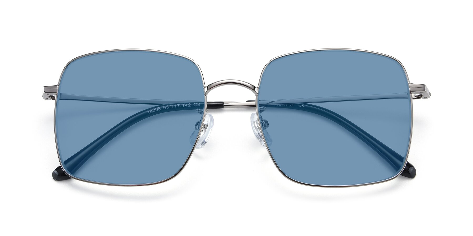 Folded Front of Billie in Silver with Medium Blue Tinted Lenses