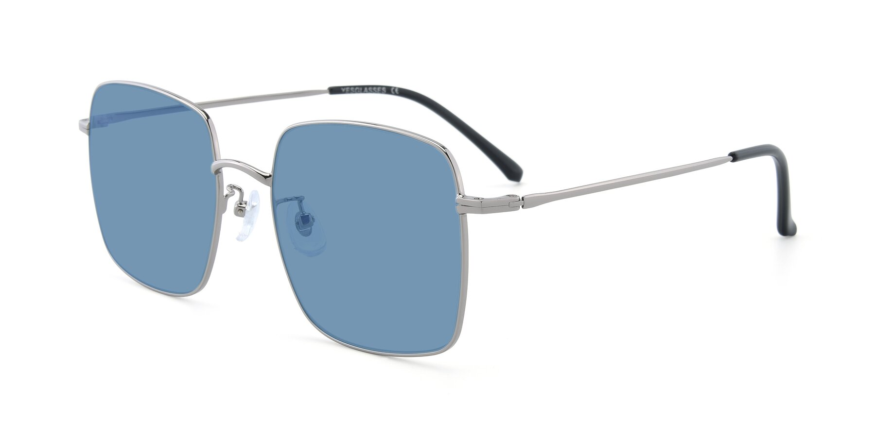 Angle of Billie in Silver with Medium Blue Tinted Lenses