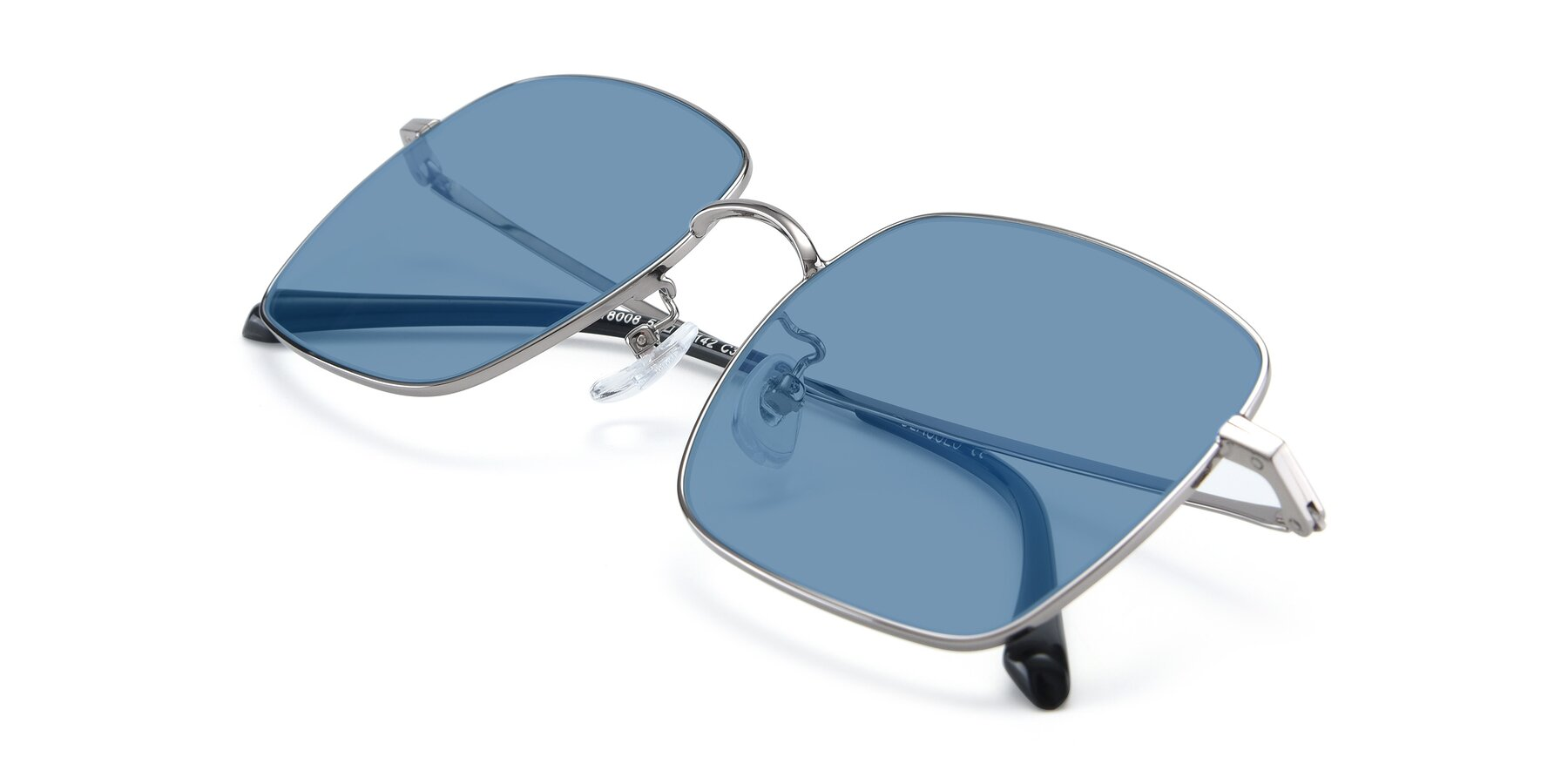 View of Billie in Silver with Medium Blue Tinted Lenses